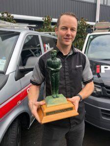 Jamin Saes receiving 2020 NZ Master Plumber of the Year Award