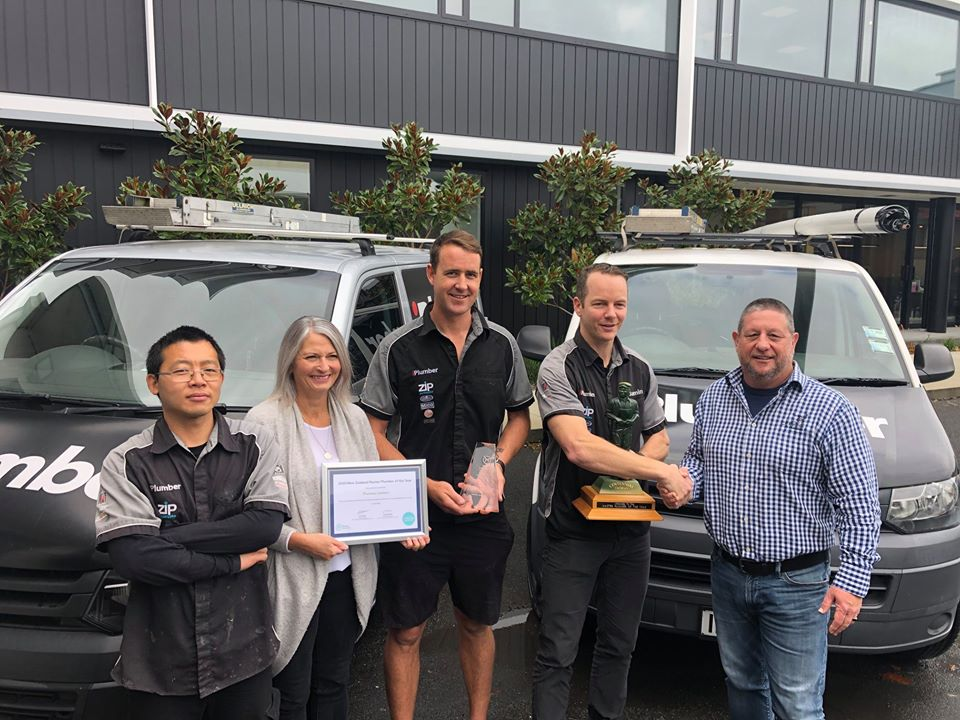 Our team receiving 2020 NZ Master Plumber of the Year Award